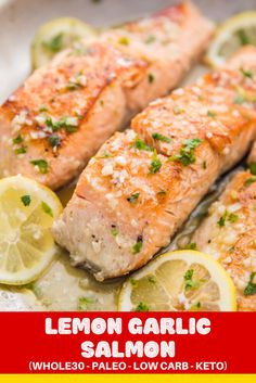 A quick but elegant lemon garlic salmon recipe that's perfectly flavored with a lemon garlic butter sauce. paleo low carb and keto friendly. Paleo Recipes Easy, Easy Dinner Recipes, Vegetarian Recipes, Easy Meals, Dinner Ideas, Baking Recipes, Lemon Garlic Butter Sauce, Lemon Garlic Salmon, Salmon Recipes