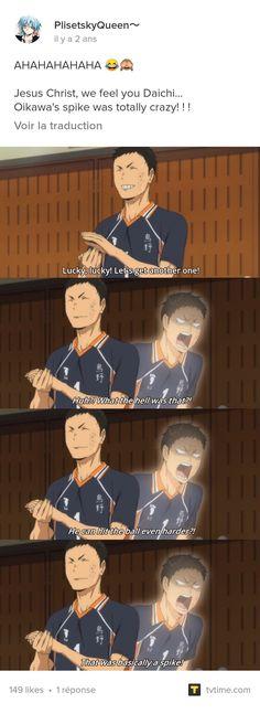 I can relate to daichis inner apirit Haikyuu Tsukishima, Haikyuu Funny, Haikyuu Manga, Haikyuu Fanart, Haikyuu Ships, Manga Anime, Volleyball Anime, Volleyball Drills, Volleyball Quotes