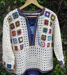 Ravelry: OndineStardust& Summer of love - Crochet - my projects - Crochet Jacket, Crochet Poncho, Crochet Cardigan, Ravelry, Mode Crochet, Crochet Winter, Granny Square Crochet Pattern, Crochet Woman, Crochet Fashion