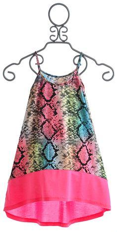 Flowers by Zoe Neon Pink Snake Print Girls Dress
