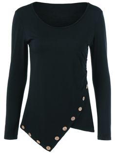 Asymmetrical Inclined Button T-Shirt