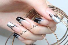 Elegant chevron french and filigree nails