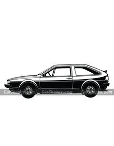 1985 VOLKSWAGEN SCIROCCO Car Vector, Vector Illustrations, Laser Engraving, Chevrolet Logo, Volkswagen, Autos