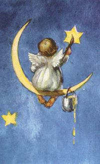 Baby Angel wings sitting in moon Painting Stars ★ Art And Illustration, Vintage Christmas Cards, Vintage Cards, I Believe In Angels, Angel Pictures, Angels Among Us, Guardian Angels, Angel Art, Moon Art