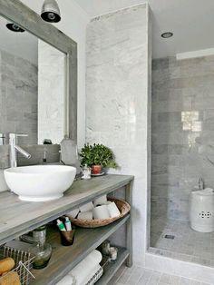 Guest bath - storage under the sink and doorless shower Laundry In Bathroom, Bathroom Renos, Basement Bathroom, Master Bathroom, Bathroom Ideas, Bathroom Remodeling, White Bathroom, Bathroom Designs, Bathroom Makeovers