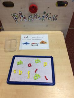 Phonics challenge EYFS. Talking tin 'reads' the challenge to the children. Once done, they show the board to an adult who will sign their challenge sheet. Beginning phase 3.
