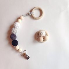 NomiLu MoonLight Clip -- Crocheted Beads Pacifier Clip -- RING SOLD SEPERATELY