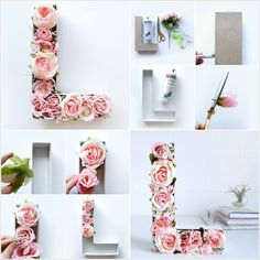 Try This Wonderful Flower MonogramIf you want to add a monogram to any place in your home for example the baby nursery then you can make this one. Flower Letters, Diy Letters, Diy Monogramm, Diy Earrings Easy, Diy And Crafts, Crafts For Kids, Summer Crafts, Fall Crafts, Easter Crafts