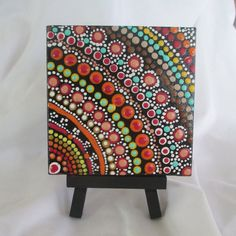 Aboriginal Art, Aboriginal painting, Dot Art, Dot painting original mini 4 x 4 canvas, Earth tones, small painting with easel, Rainbow #290