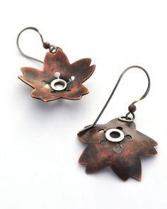 Mixed Metal Earrings Copper Flower Earrings by ErinAustin on Etsy