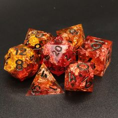 Lava Reef, Handmade by me. Orange & Red Resin with Copper Flake. Finished w/ Black Iridescent Numbers. Diy Resin Dice, Wizard Dice, Dungeons And Dragons Dice, Orange Wallpaper, Cosplay Tutorial, Pen And Paper, Goblin, Resin Art, Iridescent