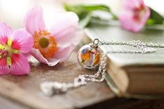 Irish wildflower necklace real plant pendant by RubyRobinBoutique