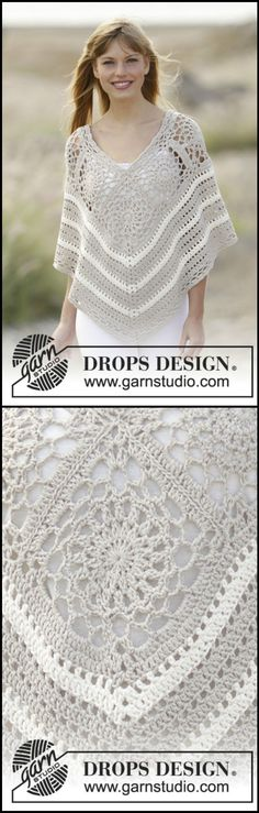 we are with amazingly beautiful and fashion-worthy 50 free crochet poncho patterns that can be with you whole of the year to style you up! These ponchos Crochet Woman, Love Crochet, Crochet Motif, Crochet Shawl, Crochet Stitches, Knit Crochet, Crochet Squares, Crochet Poncho Patterns, Crochet Blouse