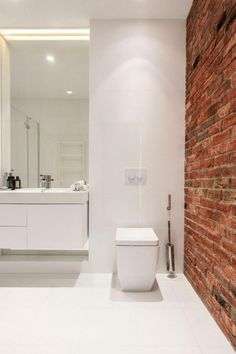 50+ Stylish Farmhouse Bathroom with Brick Wall Decor Inspirations