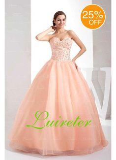 Attractive Ball Gown Floor Length Sweetheart Pink Organza Beading Wedding Dress