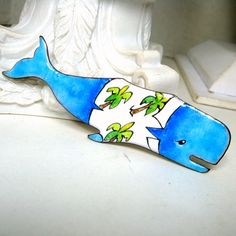Blue Whale Pin Big Ocean Mammal in a by VintageStarrBeads on Etsy