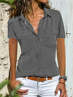 Solid Lapel Short Sleeves Button Up Casual Elegant Shirt Blouses Short Sleeve Blouse, Short Sleeves, Short Sleeve Shirts, Long Shirts, Long Sleeve, Camisa Formal, Vetement Fashion, Collar Blouse, Blouse Online