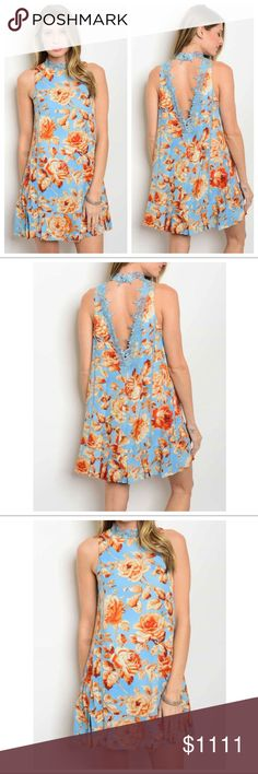 "✳️JUST IN- Floral Open Back Trimmed Dress Stunning floral dress with relaxed lines and delicate trim on vertical seams and in the back. Beautiful blue and orange/blush color combo; fully lined, polyester. Item is new, direct from the maker without tags.   Size Small- 19"" bust 32.5"" long Size Med-   20"" bust 33"" long Size Large- 20.5"" bust 33.5"" long 1 North 1 South Dresses"
