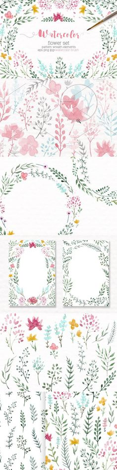 Watercolor floral set +Brushes. Wedding Card Templates. $6.00