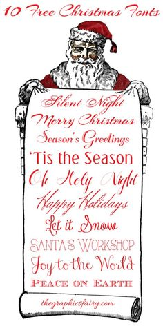 10 Free Christmas Fonts! By Emily Martin for The Graphics Fairy. #Fonts #Christmas