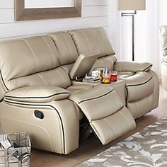 Palliser® Freemont Leather Power Motion Loveseat Console | Sears Canada