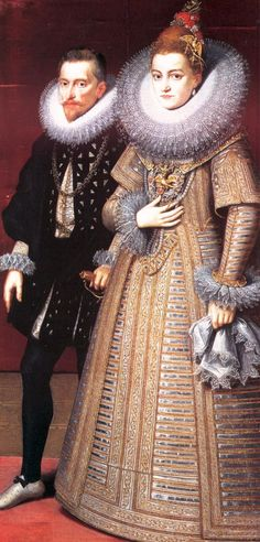 Portrait of a 1599 bride and groom. wedding gown History of Wedding Gowns: 600 Years of Bridal Dress Styles White Wedding Gowns, Colored Wedding Dresses, Wedding Dress Styles, Bridal Dresses, Medieval Fashion, Edwardian Fashion, Dress Making Patterns, Gibson Girl, Vintage Bridal