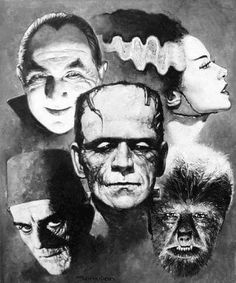 Universal Classic Monsters Art by Manuel Perez Clemente