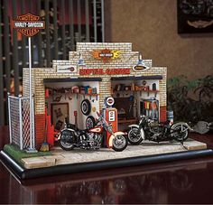 franklin mint equipped small town Harley Shop, specializing in Softail's.