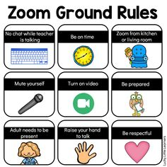 Zoom Activities to Use with Distance Learning – Lucky Little Learners It's important to set some Zoom etiquette before meeting with your class. These Zoom ground rules will set the tone so that your meetings are more productive. Online Classroom, Classroom Rules, Google Classroom, Flipped Classroom, Classroom Ideas, Teaching Tips, Learning Resources, Home Learning, Learning Spaces