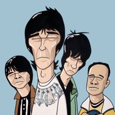 The reformed band are still touring, so it's perhaps the perfect time to unleash these Stone Roses prints by Pete McKee onto the public. This is the band - and one its fans - in true McKee style. Stone Roses, Music Love, Good Music, Pete Mckee, Pins Badge, Manchester Art, Music Illustration, Illustration Styles, Cartoon Posters