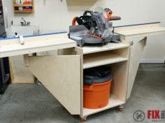 Table Saws mobile miter saw station plans - How to build a Mobile Miter Saw Station full of features and perfect for your shop. Full detailed build walkthrough and DIY miter saw table plans inside! Miter Saw Stand Plans, Diy Miter Saw Stand, Miter Saw Table, Mitre Saw Stand, Mitre Saw Station, Table Saw Station, Woodworking Saws, Woodworking Projects Diy, Woodworking Store