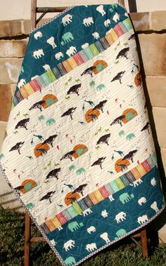 Baby Quilt, Boy or Girl Gender Neutral, Serengeti Birch Organic Fabrics, African Safari Animals, Elephants Giraffe Deer Stag Tribe Blue Teal by SunnysideDesigns2 on Etsy