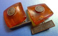 a4 Vintage USSR Latvia men jewelry Natural Baltic Amber gemstone CUFFLINKS 7g