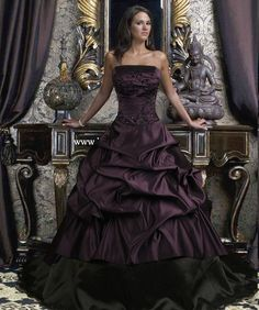 Plum & black wedding dress.
