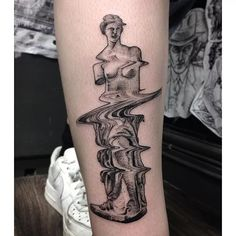 Glitch Greek statue tattoo by Max Amos. #MaxAmos #blackwork #glitch…