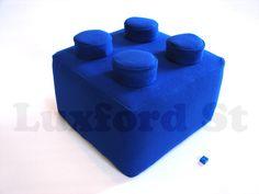 Lego Block Pillow - in Brilliant Blue. $89.00, via Etsy.
