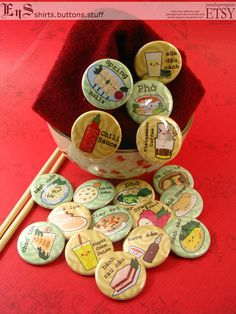 Vietnamese Food  Pinback Buttons 18 by pandapenguin on Etsy, $14.50