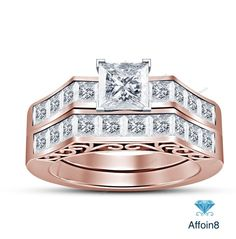 4.48 CT Princess Cut Diamond 925 Silver Solitaire With Accents Bridal Ring Set…