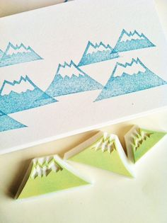 snowy mountain stamps. mountain stamps. hand by talktothesun