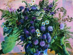 Flowers, Boris Mikhailovich Kustodiev, 1917