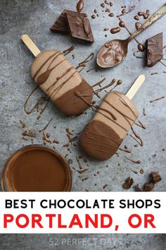 52 best chocolate shops, chocolate desserts and chocolate treats in Portland, Oregon. PDX foodie list! Best restaurants in Portland, best restaurants in PDX. Where to find the best desserts in Portland. Best chocolate shops in Portland. Ultimate PDX Food Bucket List for chocolate lovers, Must Eat in Portland. The best places to eat and drink in Portland, Oregon for chocolate lovers. A guide to the best bakeries and chocolate shops in PDX. Chocolate Shop, Chocolate Treats, Best Chocolate, Chocolate Lovers, Drinks Of The World, Northwest Usa, Visit Oregon, Good Bakery, Travel Usa