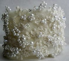 Vintage lace and pearl cuff bracelet