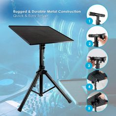 Universal Laptop Projector Tripod Stand - Computer, Book, DJ Equipment Holder Mount Height Adjustable Up to 35 Inches w/ x Plate Size - Perfect for Stage or Studio Use - PylePro Projector Stand, Computer Desks, Computer Equipment, Dj Equipment, Ipad Wall Mount, Adjustable Computer Desk, Recording Studio Design, Home Studio Music