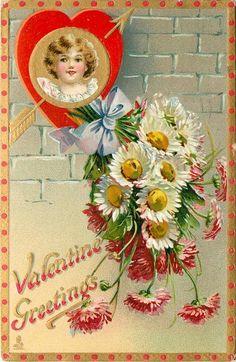 VALENTINE GREETINGS  insert of girls head in gilt & red heart, arrow, daisies below