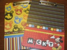 Altered Mickey Mouse Themed Clipboards