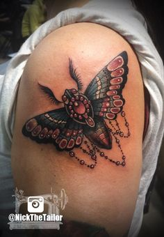 Moth Shoulder Piece Tattoo, Full color with Gems