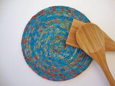 FABRIC COIL TRIVET in Teal & Brown Batik Fabric  by Jambearies