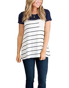 Special Offer: $13.98 amazon.com Idgreatim women striped t-shirts with porket Key Feature Material:Cotton blend Pattern:Striped Type:T-shirt Style:Simple style,perfect wear with jeans,leggings or short pants Unique:Color block striped tshirt with lace pocket Occasion:Casual/Daily,Plus...