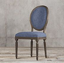 Vintage French Round Fabric Side Chair
