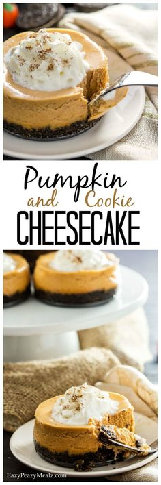 - Eazy Peazy Mealz Pumpkin Cookie Cheesecake is light, airy, and oh so delicious, plus easy to make. Perfect for your Thanksgiving dessert table! Cheesecake Cookies, Pumpkin Cheesecake, Cheesecake Recipes, Dessert Recipes, Mini Desserts, Just Desserts, Super Cookies, Pumpkin Cookies, Thanksgiving Desserts
